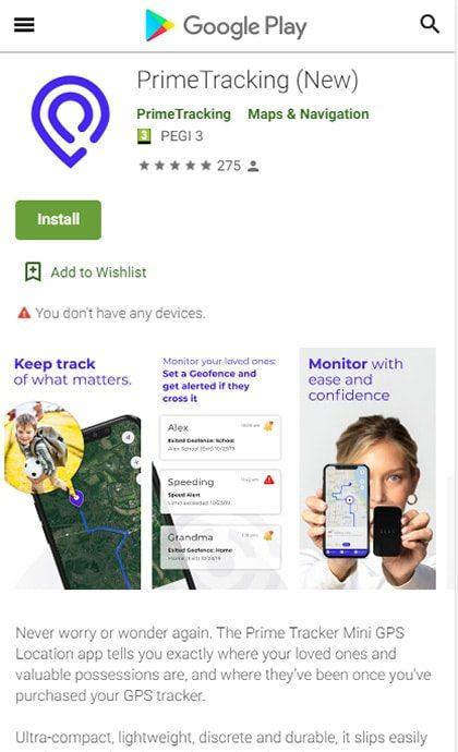 PrimeTracking GooglePlay App